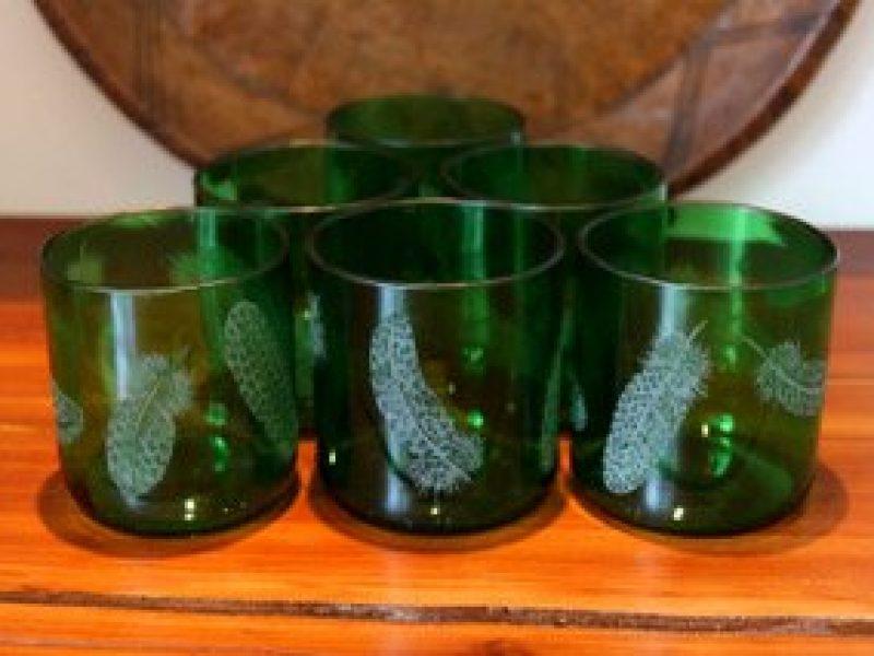glassware-six-green-tumblers-guineafowl-feathers